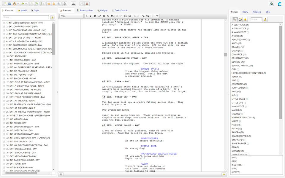 Fountain Editor screens